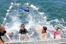 Boom-netting – just like a spa but behind the boat!